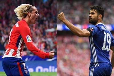 Costa watches Griezmann fire Atletico into second